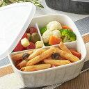 3つ仕切りレンジパック(アウトレット含む)日本製 磁器 3品皿 子供食器 お子様 離乳食 食器 保存容器 陶器 仕切り皿 仕切り鉢 安定 深い 食器 蓋付き ふた 深め