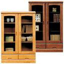 本棚 書棚 完成品 幅80cm リビングボード ガラス扉付き 引き出し収納付き 日本製 ブックシェルフ 木製 モダン