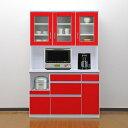 食器棚 国産 【アウトレット】120cm ロータス(開き戸)レッド/赤【RCP】【02P01Oct16】