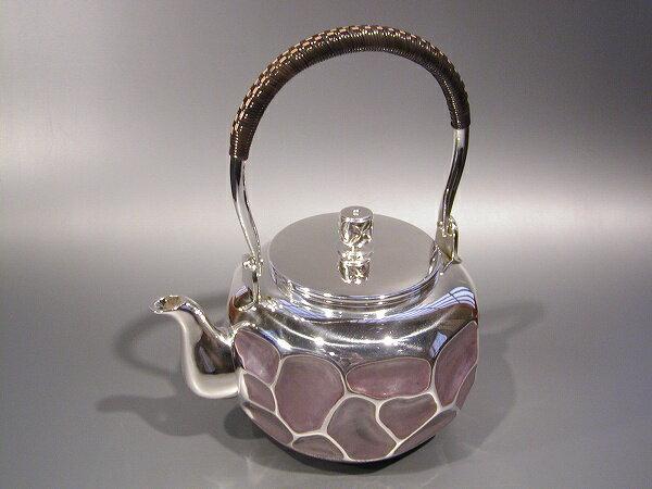 銀製茶器・茶道具純銀製 岩目 銀瓶福島宗秀作