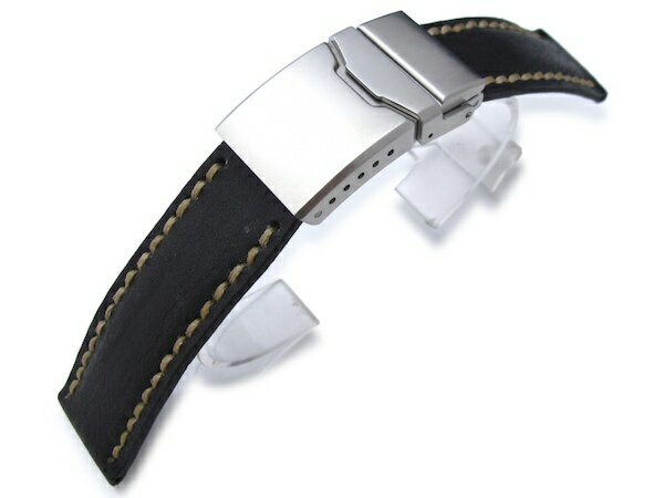 20mm MiLTAT時計ベルト アニリンカーフ ブラック / ハンドステッチング / フリップロッククラスプ ◆送料無料◆