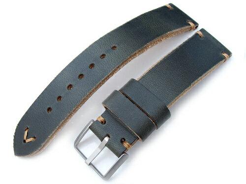 20mm MiLTAT 時計ベルト Hornween Chromexcel アニリンレザー ブラキッシュグリーン / ブラウンステッチ ◆送料無料◆