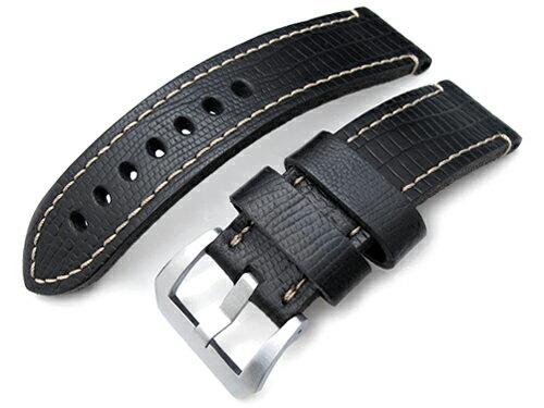 24mm MiLTAT 時計ベルト HORWEEN Leather リザードグレーン マットブラック / ベージュステッチ ブラッシュドバックル ◆送料無料◆