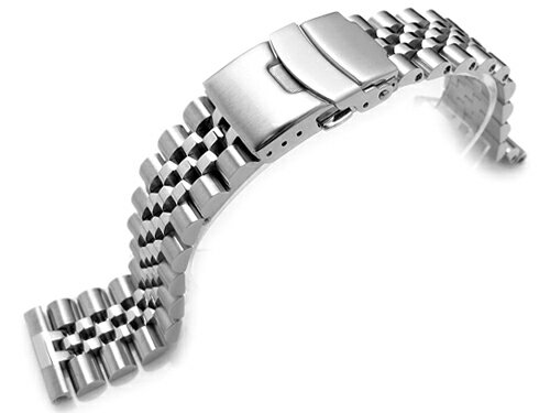 22mm メタル時計バンド ステンレススチール ジュビリー ブレスレット ブラッシュドシルバー ストレートエンド