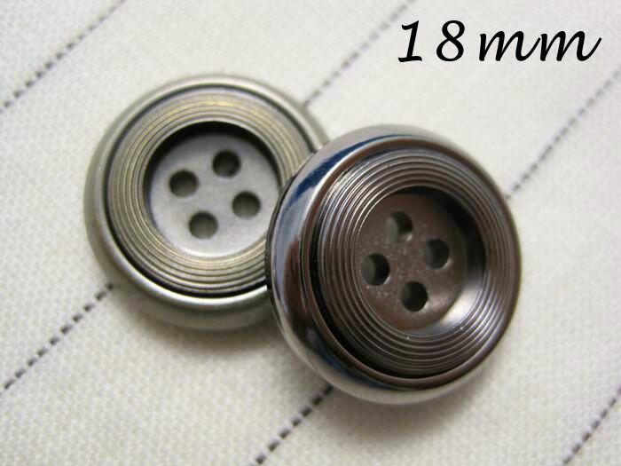 ■スタイリッシュなデザイン■金属調メタルボタン18mm×1個(厚さ5mm)