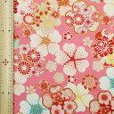 和調木綿(花遊び金彩文様)ピンク 【布地 生地 和柄 花柄】【和柄生地】【MT】
