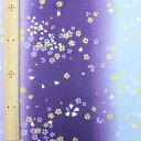 和調木綿 金彩桜舞文様(グラデーション)紫 【布地 生地 和柄】【和柄生地】【MT】