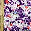 和調木綿(鹿の子桜に流水桜文様)紫【布地 生地 和柄】【RS】