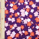 和調木綿(タッチ梅文様)紫【布地 生地 和柄】【和柄生地】【RS】