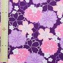 和調木綿(桜鹿の子文様)紫【布地 生地 和柄】【和柄生地】【RS】