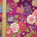 和調木綿(花と毬と御所車と折鶴金彩文様)紫 【布地 生地 和柄】【和柄生地】【RS2】【MT】
