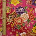 和調木綿(花と毬と御所車と折鶴金彩文様)赤ピンク 【布地 生地 和柄】【和柄生地】【RS2】【MT】