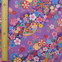 和調木綿(金彩斜め花まつり文様)紫 【布地 生地 和柄】【和柄生地】【RS2】【MT】