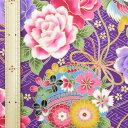 和調木綿(紗綾形に金彩鶴丸富士花鞠文様)紫 【布地 生地 和柄】【和柄生地】【RS1】【MT】