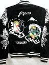 スカジャン 別珍 風神雷神刺繍 日本製本格刺繍