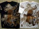 カラクリ魂・粋 和柄 半袖Tシャツ 信長の虎刺繍 KARAKURI【コンビニ受取対応商品】