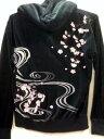 絡繰魂 カラクリ魂 和柄 フェイクレイヤード前開きベロアパーカー 桜刺繍 KARAKURI 【楽ギフ_包装】【楽ギフ_のし】