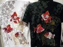 カラクリ魂 和柄半袖ポロシャツ 扇に金魚刺繍 KARAKURI  【楽ギフ_包装】【楽ギフ_のし】