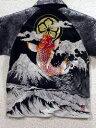 カラクリ魂 和柄 半袖ポロシャツ 緋鯉刺繍 パイソンレイヤード KARAKURI 【楽ギフ_包装】【楽ギフ_のし】