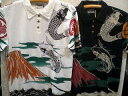 INFINITY インフィニティ 半袖ポロシャツ 赤富士と鯉桜刺繍 【コンビニ受取対応商品】