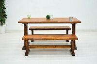 ダイニングテーブルセット3点ベンチ2台和風140cm4人fuget-360ブラウン色うづくり仕上げダイニングテーブル3点セットダイニングセット和室モダン木製天然木低めロータイプアウトレット送料無料