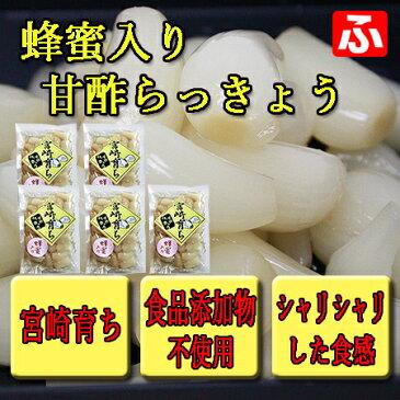 【宮崎育ち】蜂蜜入り甘酢らっきょう 130g×5袋(送料無料)
