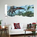 ウォールステッカー 動物 3D 立体感 人気 恐竜 ウォールステッカー 3Dトリックアートダイナソー 恐竜の世界2  壁紙 壁シール 大き..