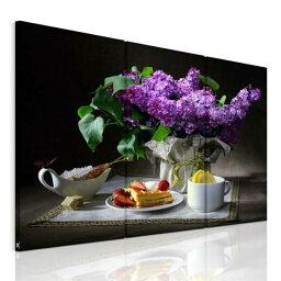 新生活応援!送料無料 絵画 インテリア アートパネル 優雅の朝食、ティータイム、紫の花束、パンケーキ3パネルSETAirbnb民泊シェアハウス装飾