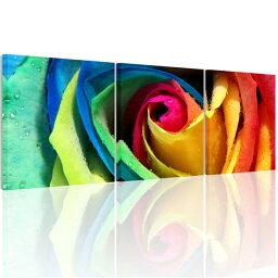 あす楽・送料無料 絵画 バラの花 アートパネルカラフルな ローズ 薔薇 バラ 絵画壁掛け パネル 壁飾りファブリックパネルAirbnb民泊シェアハウス装飾 横50cm×縦50cm 3枚パネルセット