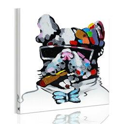 送料無料 新生活応援! 絵画 ワンチャン 犬 抽象的 カラフルなネクタイを付ける 犬 dog 動物 モダンアート 絵画 油絵風インテリア雑貨 Airbnb民泊シェアハウス装飾リビング 玄関 プレゼント店舗ディスプレイ (横50cm×縦50cm)