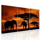 送料無料・あす楽 絵画 アフリカ象 夕日の木 アートパネル3パネルSET 木と3匹の像 絵画 壁飾り