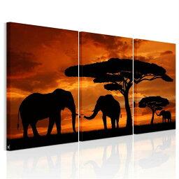 送料無料・あす楽 絵画 アフリカ象 夕日の木 アートパネル3パネルSET 木と3匹の像 絵画 壁飾り Airbnb民泊シェアハウス装飾モダンアート モダン絵画 風景画