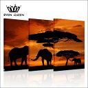 送料無料・あす楽対応RainQueenアートパネル3パネルSET 木と3匹の像 アートパネル・ファブリックパネル 絵画 北欧 アートフレーム 壁掛け パネル 壁飾り モダンアート モダン絵画 風景画複合画