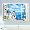 3Dウォールステッカー偽窓ステッカー 3D 窓の景色 ウォールステッカー 窓 リゾート地の風景 壁シール 欧風 カモメ ブルー 空 雲 開放感 リゾート地のポスター 地中海の風景 ゆうメール便送料無料
