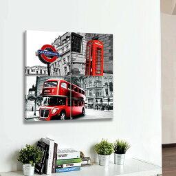 送料無料 あす楽 絵画 インテリア アートパネル  ロンドンバス モダンアート モダン絵画 玄関 壁飾り Airbnb 民泊 シェアハウス 装飾 絵画 シティービュー 横30*縦30*4枚パネル