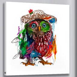 送料無料 あす楽! 絵画 アートパネル カラフルふくろう油絵風 幸せを招く風水画ファブリックパネル 壁飾りAirbnb民泊シェアハウス装飾 ふくろう絵画(50*50cm)お中元プレゼントにも!