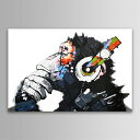 あす楽絵画 チンパンジー 白黒 動物キャンバス ファブリック...
