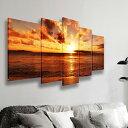 インテリア 絵画 海 風景画 壁飾り ポスター モダン 現代 海の景色 夜明けの海 5パネルセット 海辺の夕日 アートパネル 完成品 BIGキャンパスで大迫力!