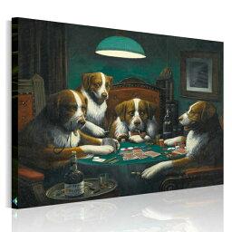 名画アート ミュージアム シリーズ 『 ポーカーをする犬 』 アートパネル 犬 絵画 動物 Cassius Marcellus Coolidge Poker Game ザ・コンサルタント クーリッジ 壁飾り インテリア Airbnb 民泊 シェアハウス 装飾 絵画 木枠付き 横75cm×縦60cm