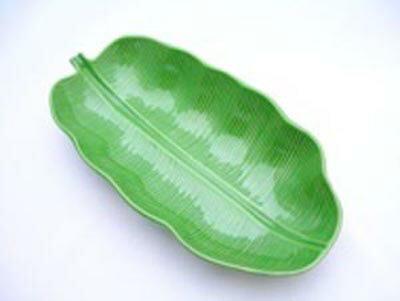 バナナリーフ プレート★L 陶器製【ばなな葉っぱのお皿 大】アジアン雑貨