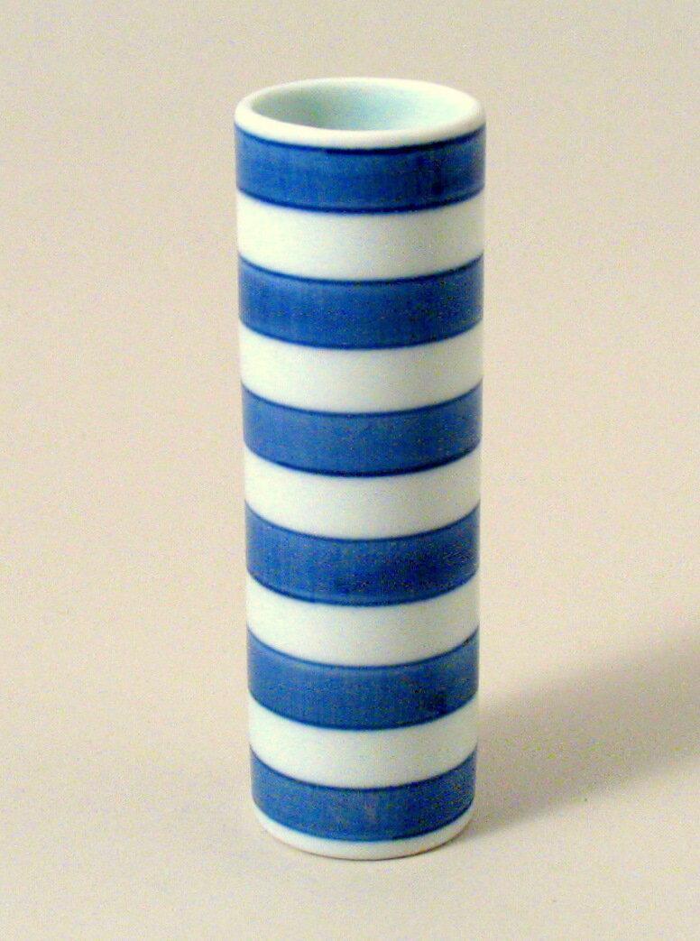 青花 縞紋様筒型ミニ花瓶