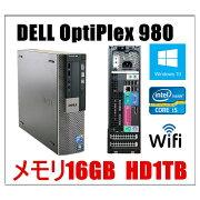 中古パソコン デスクトップパソコン 正規Windows 10 Home メモリ16GB Office付 新品HD1TB DELL OptiPlex 980 SFF 爆速Core i5 3.2GHz メモリ16GB 新品1TB DVD 無線付