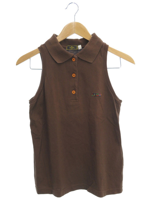 【FENDI】【トップス】フェンディ『ノースリーブポロシャツ sizeL』レディース 1週間保証【中古】