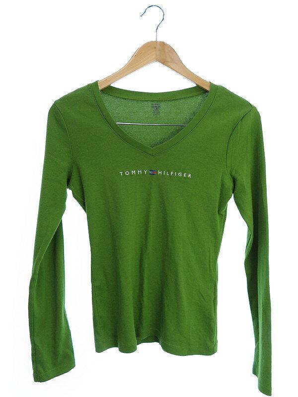 【TOMMY HILFIGER】【トップス】トミーヒルフィガー『長袖VネックTシャツ sizeS/P』レディース 1週間保証【中古】