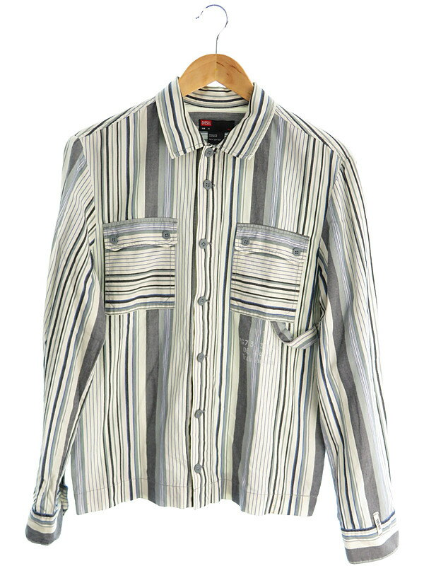 【DIESEL】【トップス】ディーゼル『ストライプ柄長袖シャツ sizeM』メンズ 1週間保証【中古】