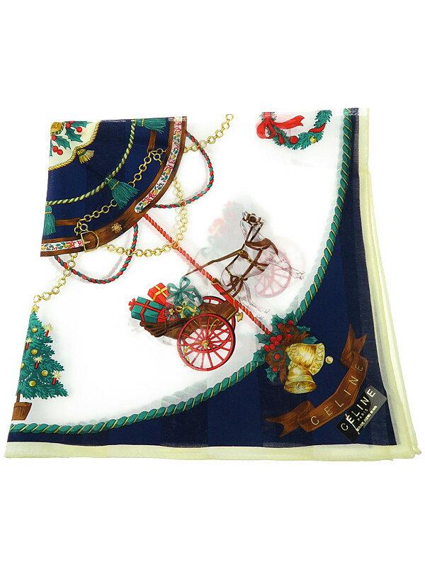 【CELINE】【クリスマス柄】セリーヌ『綿ハンカチーフ』レディース 1週間保証【中古】