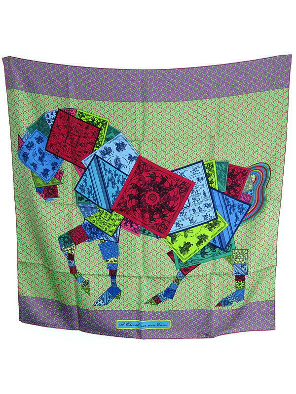 【HERMES】エルメス『カレ90  カレの馬に乗って』ユニセックス スカーフ 1週間保証【中古】
