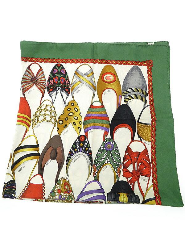【Salvatore Ferragamo】フェラガモ『靴柄スクエアスカーフ』レディース 1週間保証【中古】