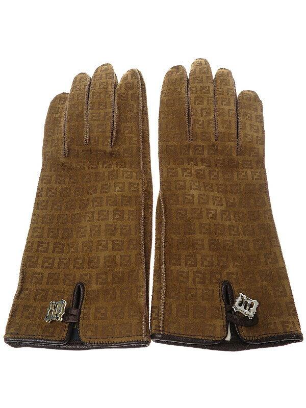 【FENDI】フェンディ『レザーグローブ size6 1/2』レディース 手袋 1週間保証【中古】