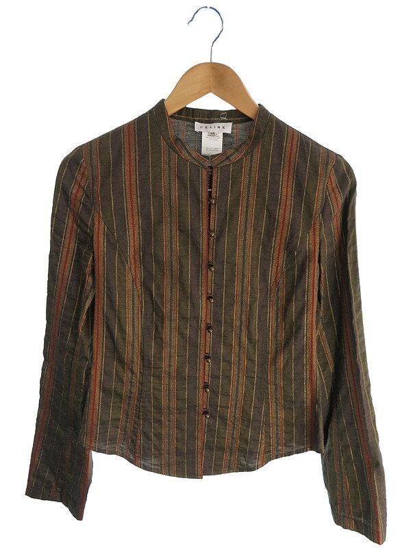 【CELINE】【トップス】セリーヌ『ノーカラー長袖シャツ size36』レディース 1週間保証【中古】